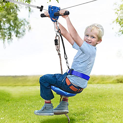 Jugader 160FT Backyard Zipline Kits for Kids with Cable Tensioning Kit, Upgraded Seat, Stainless Steel 6FT Spring Brake/6.5FT Sling Cable, Detachable Trolley, Adjustable Safety Harness & Belt