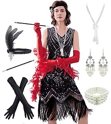 Retro Great Gatsby Inspired Tassel Beaded 1920s Flapper Dress w/ 20s Accessories