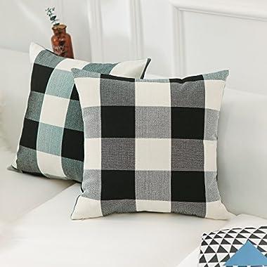 HOME BRILLIANT Mother's Day Gift Retro Farmhouse Tartan Checkered Plaids Cotton Linen Decorative Throw Pillow Case Cushion Cover Pillowcase for Sofa 18 x 18 Inch, Set of 2, Black/White