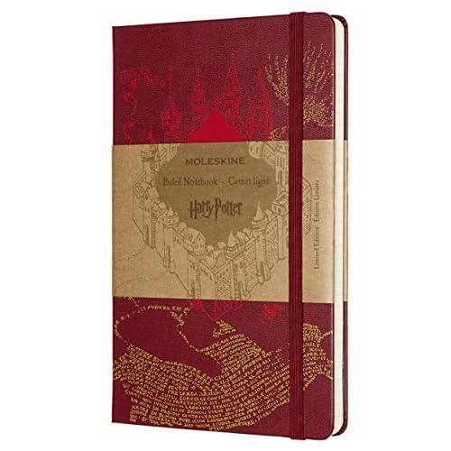 Moleskine Taccuino Harry Potter in Edizione Limitata, Notebook a Righe con Grafica e Dettagli a Tema Mappa del Malandrino, Copertina Rigida, Formato Large 13 x 21 cm, Colore Rosso, 240 Pagine