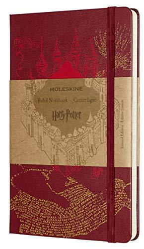 Moleskine Harry Potter de Edición Limitada, Cuaderno de Rayas con Gráficos y Detalles Temáticos del Mapa del Merodeador, Tapa Dura, Tamaño Grande 13 x 21 cm, Rojo, 240 Páginas (EDITION LIMITEE)