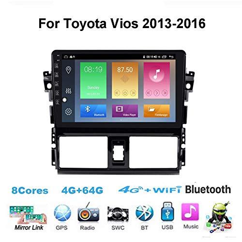 HBWZ Android Car Stereo Radio Double DIN Sat Nav para Toyota Vios 2013-2016 Navegación GPS Pantalla táctil de 9 Pulgadas Unidad Principal Reproductor Multimedia Receptor de Video...