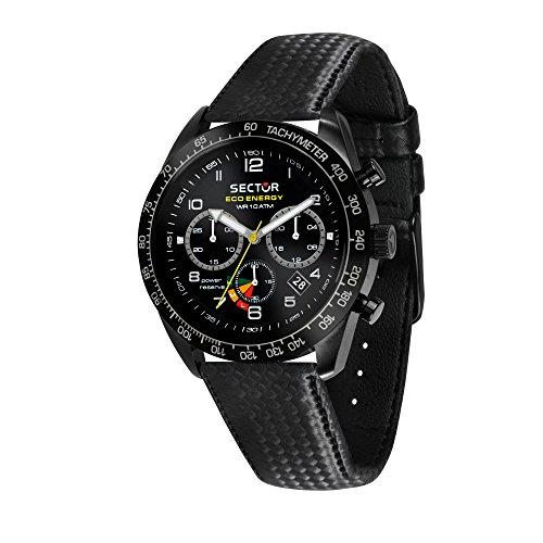 SECTOR NO LIMITS Herren Chronograph Solar Uhr mit Leder Armband R3271613001