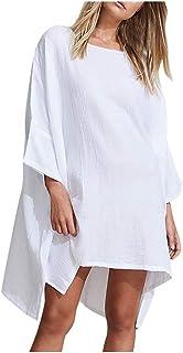 Vestidos de AlgodóN y Lino, Vestidos Desigual Mujer Verano 2020, Ropa de Playa, Dragon868 Mujer Traje de BañO Bikini Cover Up, Protector Solar Playa Mini Vestido, Camisolas y Pareos