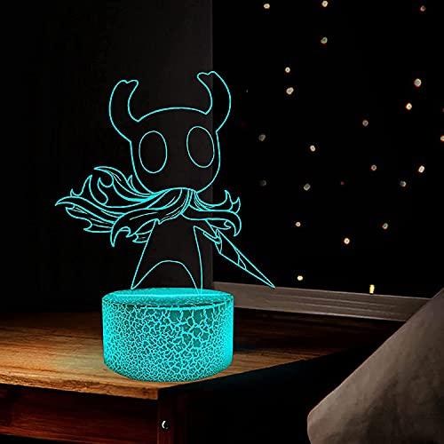ACLBB Hollow Knight Luces de Noche, lámpara de ilusión 3D, Juego de Figuras de Anime, decoración de Dormitorio y Regalos para niños, 16 Colores con Control Remoto