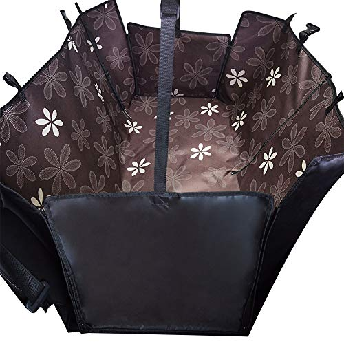 Demarkt Huisdier autostoelbekleding, hond stoelbekleding Pet Booster Carrier autostoelhoes met waterdicht antislip backing design voor alle auto's, trucks Suvs, 130*150*55cm, Koffie zonnebloem