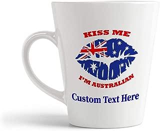 Ceramic Custom Latte Coffee Mug Cup Kiss Me I'M Australian Australia Flag Countries Tea Cup 12 Oz Personalized Text Here