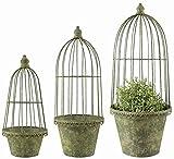 Esschert Design AM101 Aged Metal Flower Pots/Cloches, Green