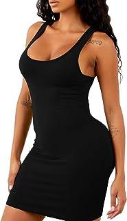 Kaximil Women's Casual Basic Sleeveless Tank Dress Sexy Bodycon Club Mini Dresses