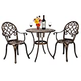 ONEP <span class='highlight'>Garden</span> <span class='highlight'>Furniture</span> Set 2 Seats, Cast Aluminum Bronze Finish Patio Armchair Ice Bucket Table, Outdoor Bistro Table and Chair Three-Piece Set
