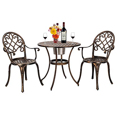 CSAO Garden Furniture Set 2 Seats, Cast Aluminum Bronze Finish Patio Armchair Ice Bucket Table, Outdoor Bistro Table and Chair Three-Piece Set