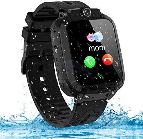 Montre Connectée Enfant LBS Tracker Étanche Enfant Smartwatch Montre Téléphone Réveil Math Jeu Caméra Cadeau d'anniversaire pour Enfants (Black)