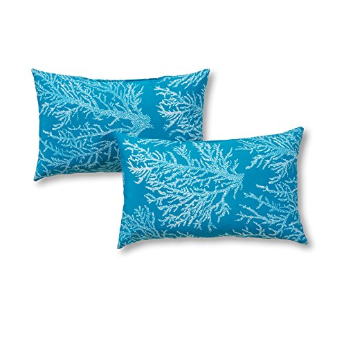 Greendale Home Fashions Rectangle Outdoor Accent Pillow (set of 2), Seacoral
