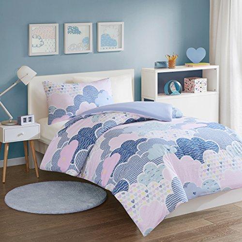 SCM Baby Bettwäsche 100x135cm 100% Baumwolle mit bunten Wolken Herzen 2-teilig Bettbezug Kopfkissenbezug 40x60cm Mädchen Cloud Blau Pink