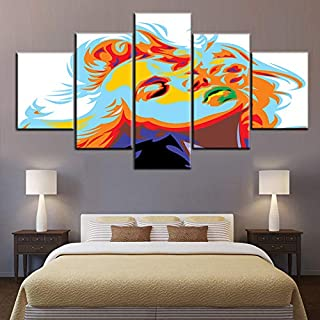 TUMOVO Wall Art for Living Room Blonde Girl Look Like Marilyn Monroe Pictures Gallery-Wrapped Green Lips Paintings HD Prin...
