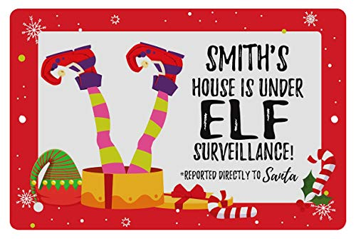 MtnGift Personalized Christmas Elf Sign - House Under Surveillance Watching for Santa Customized Name Decorative Aluminum Metal Sign (8-inch x 12-inch)