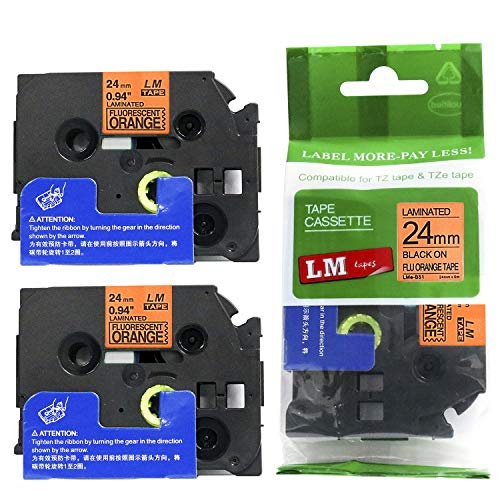 """2/Pack LM Tapes - Premium 1"""" Black Print on Bright Orange Label (24mm 0.94 Laminated) Compatible with Brother TZe-B51 P-Touch Tape and Comes with a Great Tape Color/Size Guide for Easy reordering."""