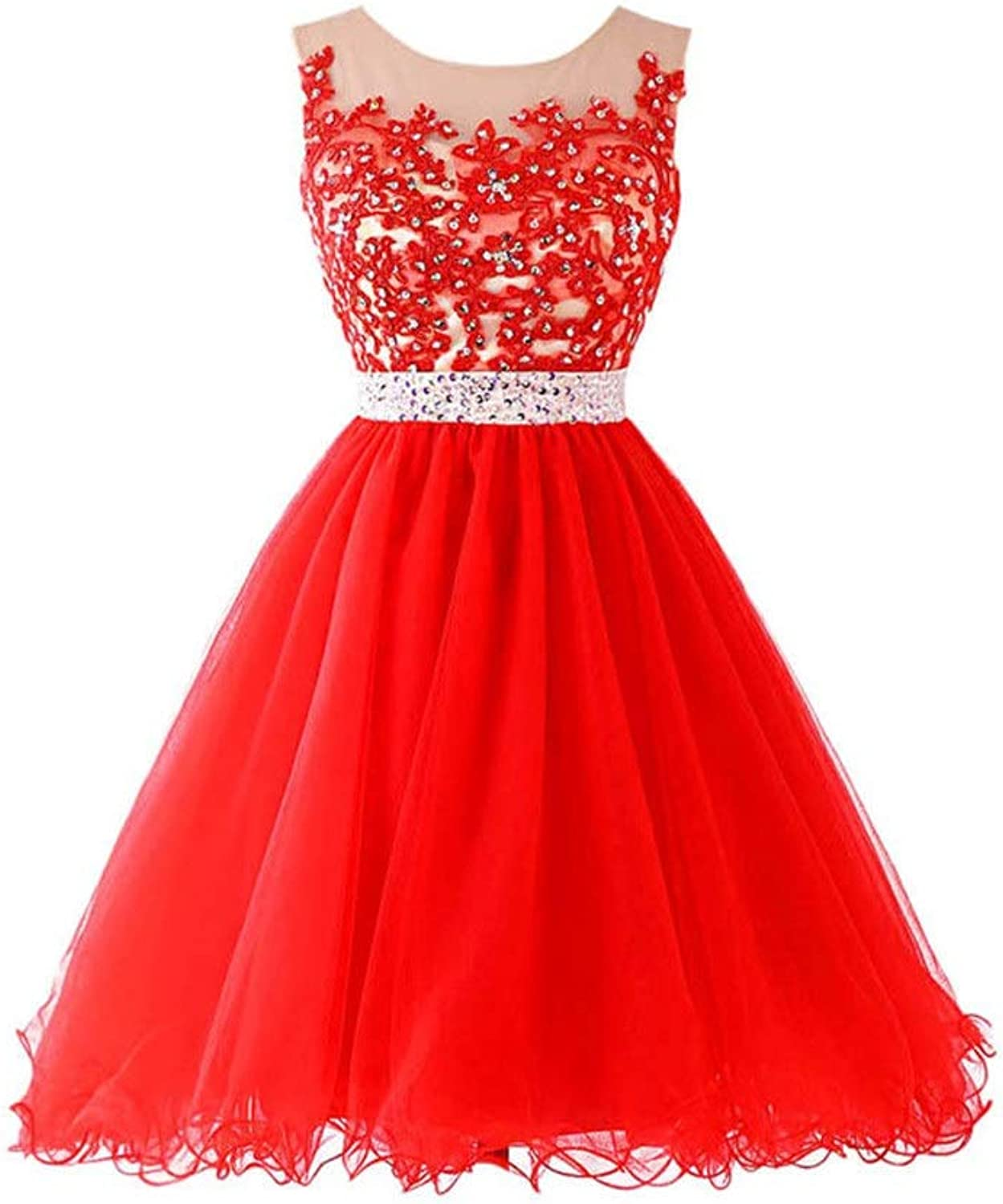 Women's Wedding Dress Women Bridesmaid Wedding Dress Tutu Tulle Short Prom Dress Homecoming Gowns Sleeveless Beaded Appliques Cocktail Party Dress Formal Evening Dress Red Ball Gowns Evening Dress