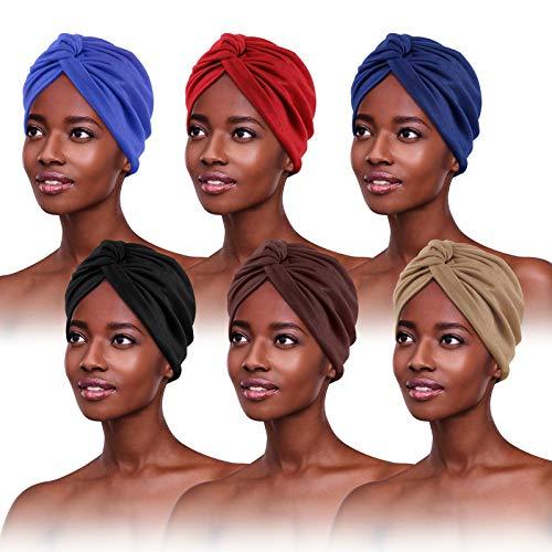 6 Stücke Turban für Damen,Verknotet Turban Tuch Falten-Kopfbedeckung Damen Kopftuch Damen Sommer Turban Mütze Damen Chemo Kopfbedeckung Hut Für Haarverlust Chemo Mit Blume Baumwollmütze, 6 Farben