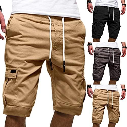 Herren Kurze Hosen Vintage Cargo Shorts Sweatshorts Jogginghose Einfarbig Jeans Shorts Outdoor Taschen Gerade Tooling Shorts Sommer Freizeit Baggy Cargohose Streetwear
