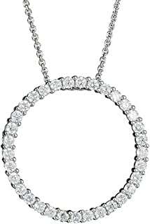 925 Sterling Silver Rhodium CZ Circle of Life Pendant Necklace - 18