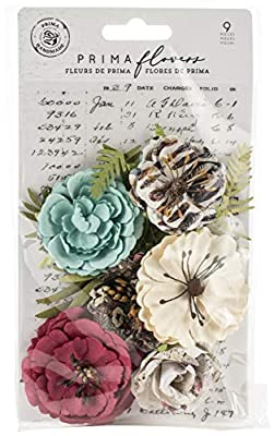 Prima Marketing Midnight Garden Mulberry Paper Flowers 9/Pkg-Light & Dark