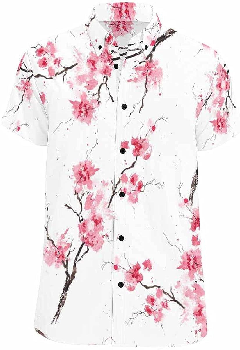 InterestPrint Cherry Blossom Branches Men's Short Sleeve Looser Fit Casual Button Down Beach Shirt