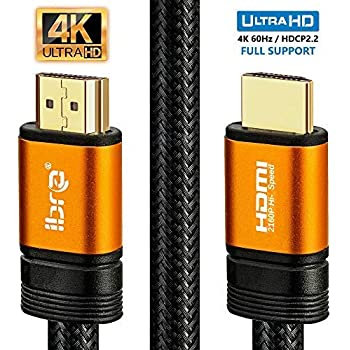 IBRA Orange HDMI Cable 6ft - UHD HDMI 2.0 (4K@60Hz) Ready -18Gbps-28AWG Braided Cord -Gold Plated Connectors -Ethernet, Audio Return -Video 4K 2160p,HD 1080p,3D -Xbox Playstation PS3 PS4 PC Apple TV