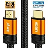 4K HDMI Kabel 1,5M HDMI 2.0b Kabel 4K@60Hz HighSpeed 18Gbps Nylon Geflecht Vergoldete Anschlüsse mit Ethernet/Audio Rückkanal,Kompatibel mit Video 4K UHD 2160p,HD 1080p,3D Xbox PS4 - IBRA ORANGE