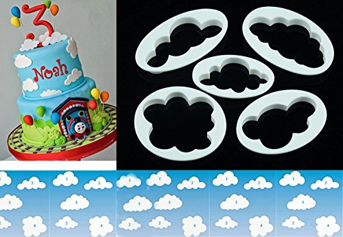 LOKMAN Set of 5 Fluffy Fondant Cloud Cutter, Gum Paste Cutter,Cookie Cake Mold Fondant Cutter, Sugar Craft, Fondant Decorating Tools (Cloud)