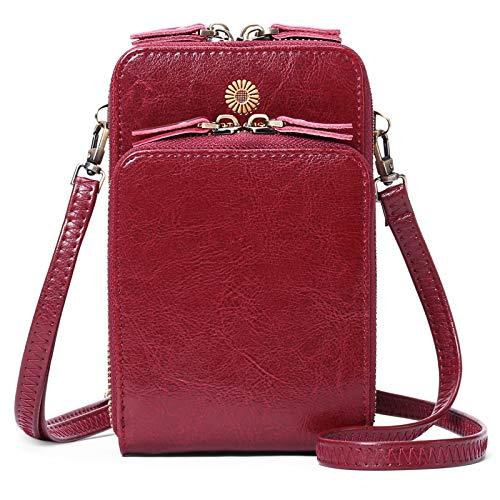 SENDEFN Bolso de hombro Cuero para Mujer -teléfono celular bolso pequeño de cuero cartera para pasaporte bolso para teléfono celular correa con Ranuras para Tarjeta y Cremallera Billeteras de Mujer