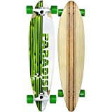 Paradise Longboard Complete White/Green Bamboo Inlay Pintail Skateboard 9.5 X 41