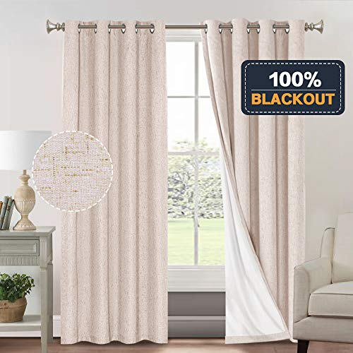 Primitive Linen Look Curtains for Living Room 100% Blackout Curtains for Bedroom Waterproof Burlap Fabric Curtains with White Thermal Insulated Liner (52 x 84 Inch, Natural + White Liner)