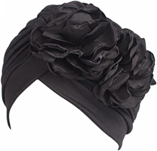 QingFan Women Muslim Solid Flowers Cancer Chemo Hat Turban Headbands Hair Loss Wrap Cap