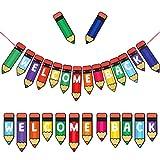 Welcome Back Decoraciones para Fiestas, Lápiz Multicolor Banner para Volver a la Escuela Decoraciones para Fiestas, Banner para Maestros Instrucción Creativa Prensa Banner Aula