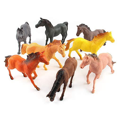 display08 Mini Figura De Caballo Realista Modelo De Plástico DIY Coleccionables Adornos De Escena Regalos De Juguete - 8Pcs / Set