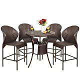 Best Choice Products 5-Piece Outdoor Wicker Bar Table Bistro Set for Patio,...