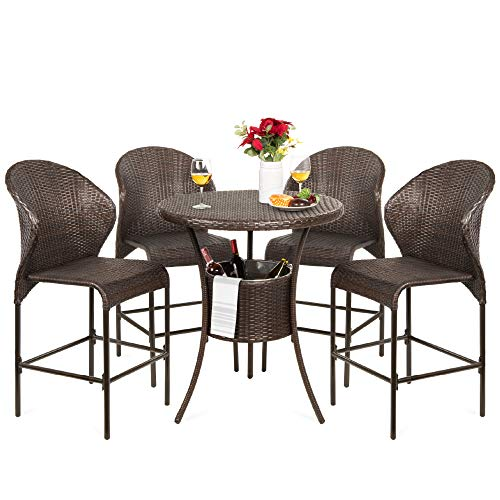 Best Choice Products 5-Piece Outdoor Wicker Bar Table Bistro Set Dining Furniture for Patio, Backyard w/Built-in Ice Bucket, 4 Chairs - Brown