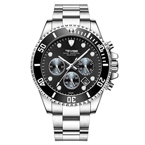 JTTM Relojes De Hombre, Reloj De Cuarzo Analógico De Negocios Único para Hombres Cronógrafo De Acero Inoxidable Relojes,Silver Black