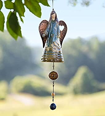 Plow & Hearth 53543-GDN Porcelain Whispering Angel Bell Chime
