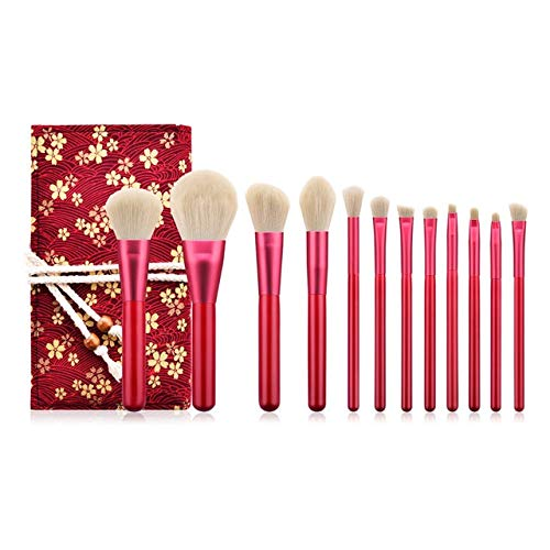 WFBD-CN Pinceau de Maquillage 1set pinceaux de Maquillage poignée en Bois Outils en Nylon Souple Brosse cosmétiques Cheveux avec Sac de Rangement Jeu de Pinceau de Maquillage