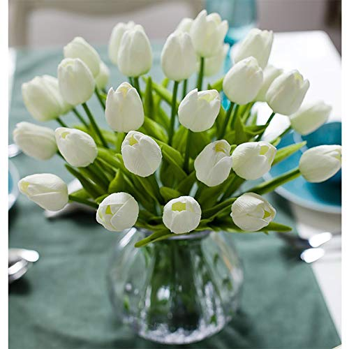 "30pcs Real Touch Tulips PU Artificial Flowers, Fake Tulips Flowers for Arrangement Wedding Party Easter Spring Home Dining Room Office Decoration. (White, 14"" Tall)"