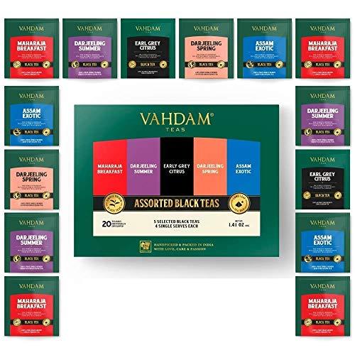 VAHDAM, Muestrario de Té Negro, 5 TÉS – Pack Surtido de Té Negro en 20 Bolsitas para Regalar a Mamá | English Breakfast, Darjeeling, Assam, Earl Grey | Set de Regalo Sano para el Día de la Mad