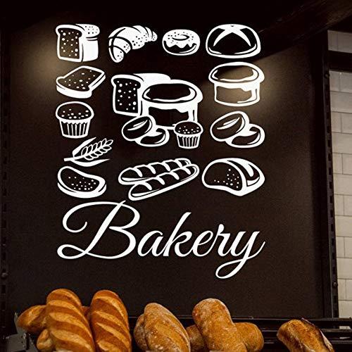 Ajcwhml Gebäck Wandaufkleber Bäckerei Brot Gebäck Wandtattoo Kuchen Keks Lebensmittel Wandtattoo Fensteraufkleber Shop Logo Kunstwand