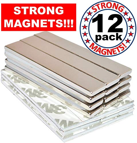 Strong Magnets Rare Earth Neodymium: Bar Adhesive Super Permanent Metal Rectangular 60x10x3mm Powerful Pull Force 12 Pack| Heavy Duty Fridge Door Garage Kitchen Science Craft Art Office DIY