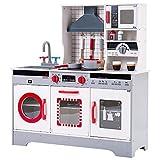belupai Kinderküche, Spielküche aus Holz, Kinderküche inklusive Zubehör (Topf, Pfanne, Küchenbesteck, Kaffeetasse, Gewurzglässe) für Kinder über 3 Jahre,Maße: 8 2X 26.5X 90 cm (Rot + Grau)
