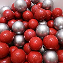 Red and Metallic Silver Balloons – Pack of 50, Great for Weddings Birthdays Bridal Shower Decorations Graduation Party Decorations Supplies 2 Style, 12 Inch
