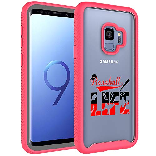 Galaxy S9 Case, Galaxy S9 Bumper - Baseball Life Sport Pattern Dual Layer Armor Defender Shockproof Crystal [Clear] Back Case Heavy Duty Soft TPU Rubber Bumper Protective Cover for Samsung Galaxy S9