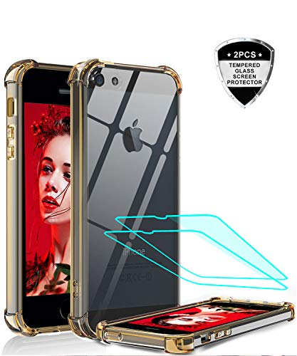 iPhone SE Case, iPhone 5S Case, iPhone 5 Case with Tempered Glass Screen Protector [2 Pack], LeYi Silicone Shockproof Crystal Clear Hard PC Slim Protective Phone Cases for iPhone 5/5s/SE/se2 Rose Gold