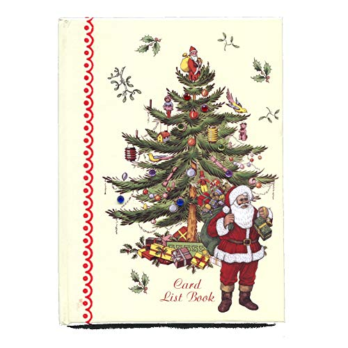 Christmas Card Address List Record Book with Send and Receive Tracker, Santa and Christmas Tree Design